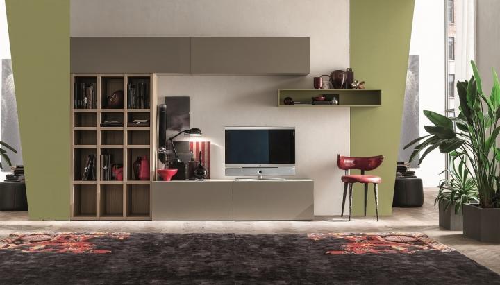 Mobile soggiorno moderno SL OBI-BS011 con libreria, base porta tv ...