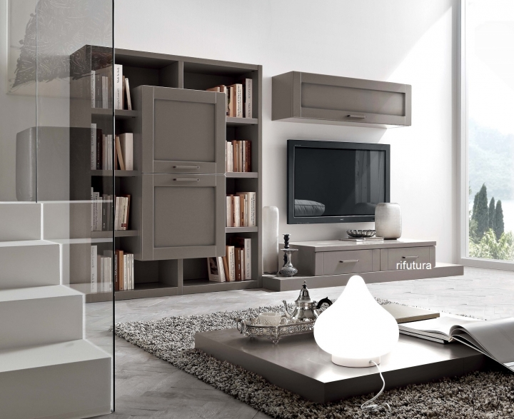 mobile soggiorno porta tv e libreria af-piave pa433 l327,7 cm - Mobili Tv E Librerie
