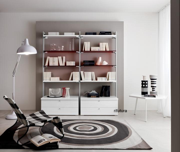 Libreria moderna montanti in alluminio pr ruby l190 for Mensole in alluminio