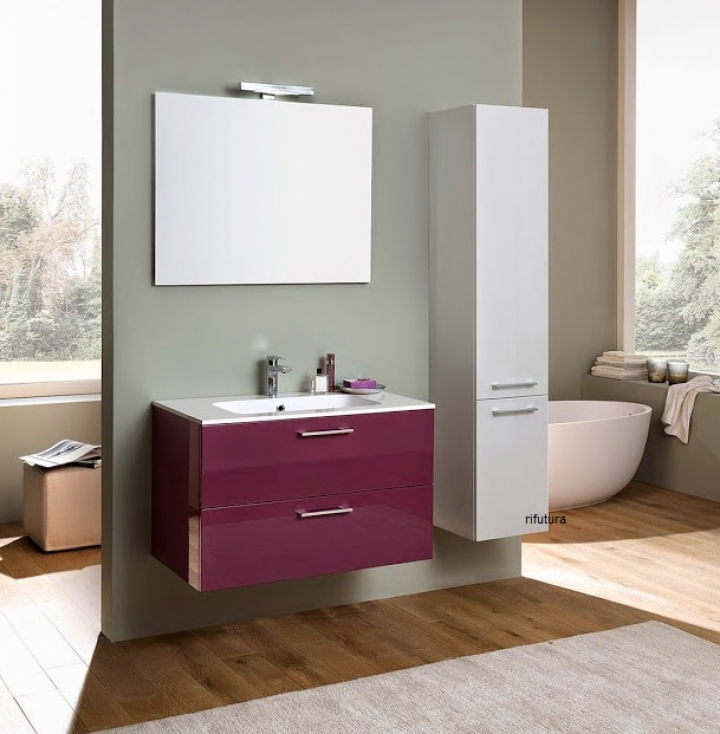 Mobile bagno moderno nc pro 05 l90 cm con colonna armadio for Colonna armadio bagno