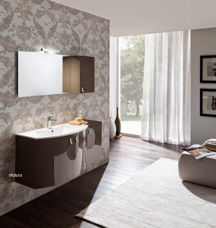 Mobile bagno curvo nc pro 25 composizione completa l125 cm top due ...