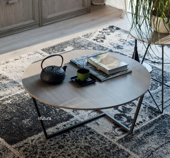 Tavolino Da Salotto Rovere Grigio.Tavolino Da Salotto Rotondo Basso Af L0084 Diametro 75 Cm H35 Cm