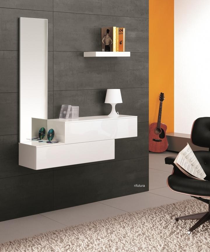 mobile ingresso mt-f42: specchio e cassetti sfalsati - Mobili Ingresso Bianco Lucido
