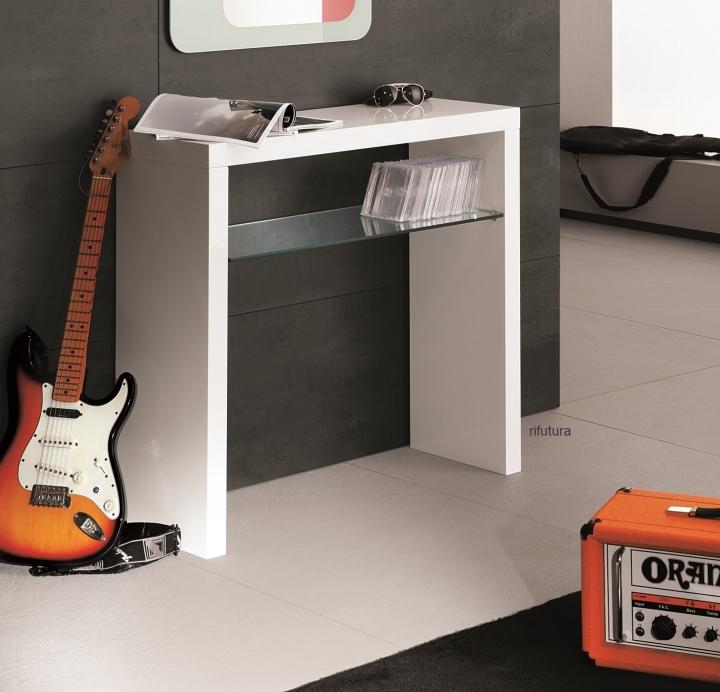 consolle mobile ingresso bianco lucido mt-f46c 90 cm - Mobili Ingresso Bianco Lucido