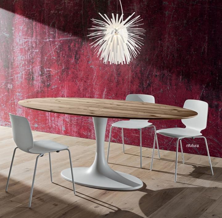 Tavolo ovale PR-RUUD piano legno rovere antico Saarinen 210 cm