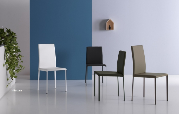 Sedie Schienale Alto Ecopelle : 04 sedie ecopelle pn giulia soggiorno cucina