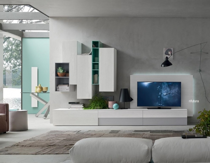 Avanti trendstore sara parete da soggiorno in laminato bianco