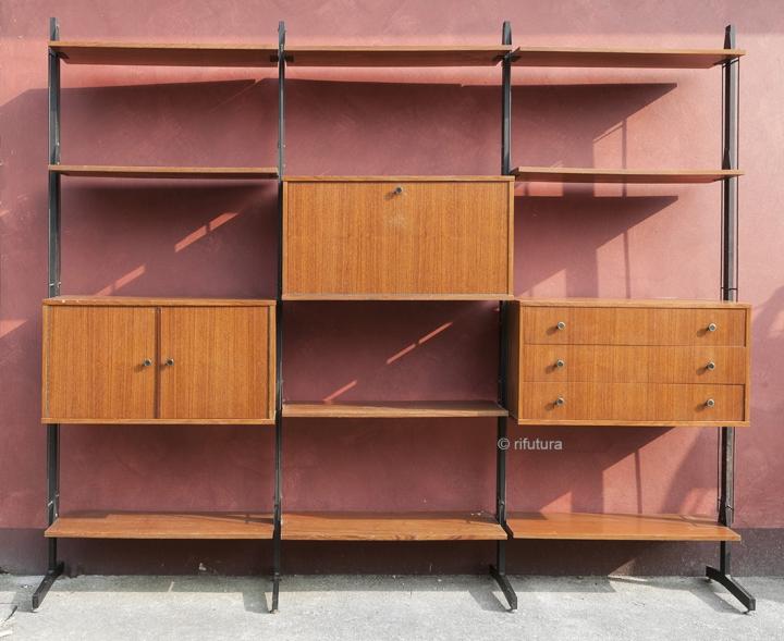 Mobili In Legno E Ferro : Libreria vintage colonne mobile anni legno e ferro design