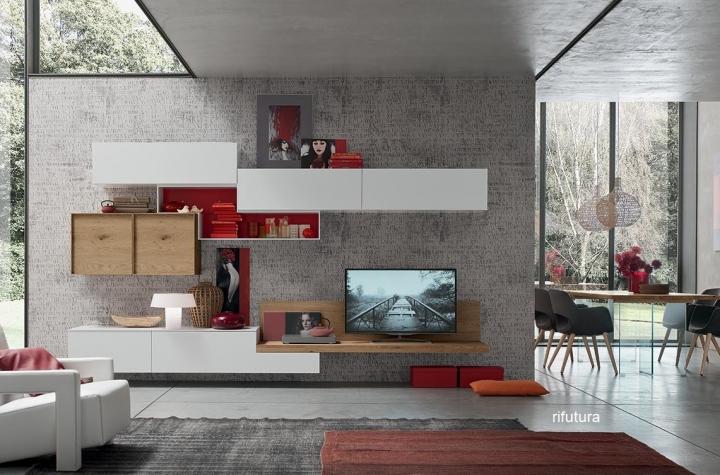Mobile soggiorno sospeso AF-SETA 1552 parete attrezzata 352 cm