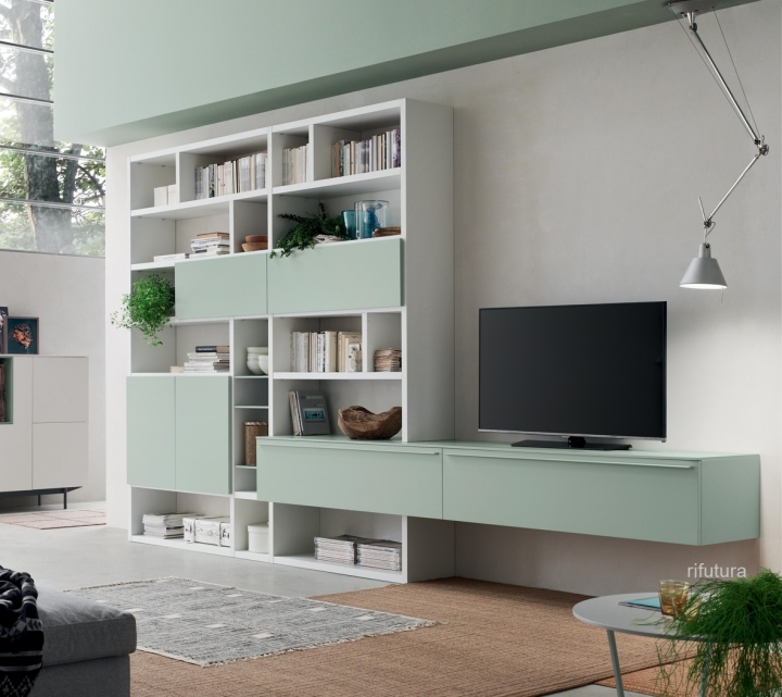 Mobile Porta Tv E Libreria.Mobile Soggiorno Libreria Porta Tv Af Seta Sa1575 L426 4 H250 2 Cm