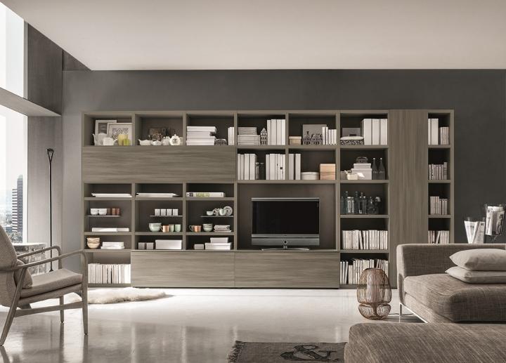 Mobile soggiorno libreria porta tv SL-INTEGRA GS105 L444 cm ...