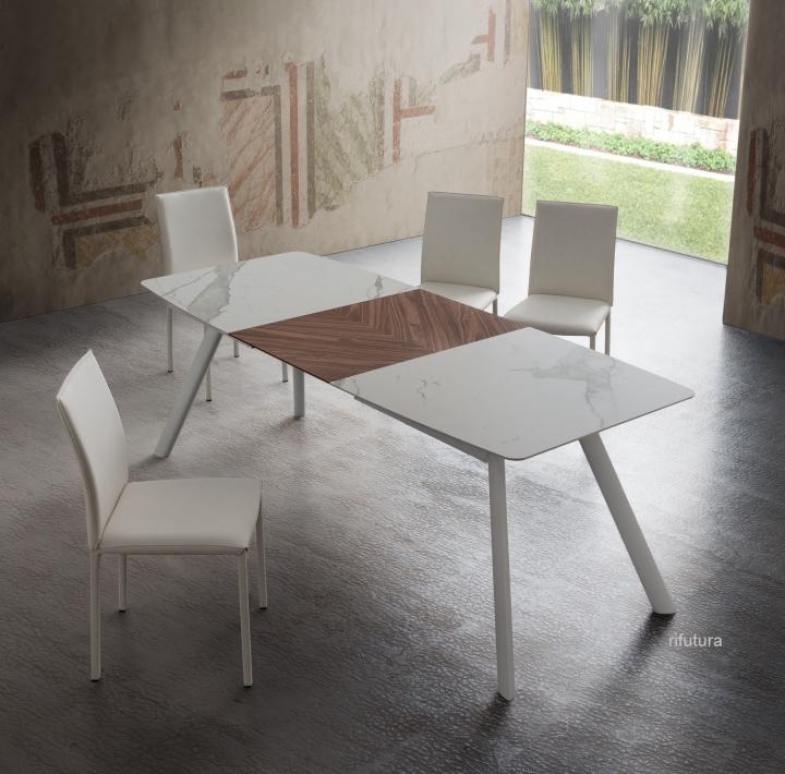 Tavolo Cucina 4 Sedie.Tavolo Allungabile Pr Neil 160 210 Cm Con 4 Sedie Miami Ecopelle