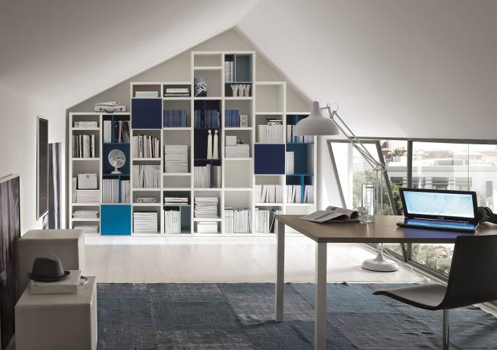 Librerie Componibili Per Mansarda.Libreria Moderna Componibile Af Mils Ss033 L310 Cm Tetto Mansardato