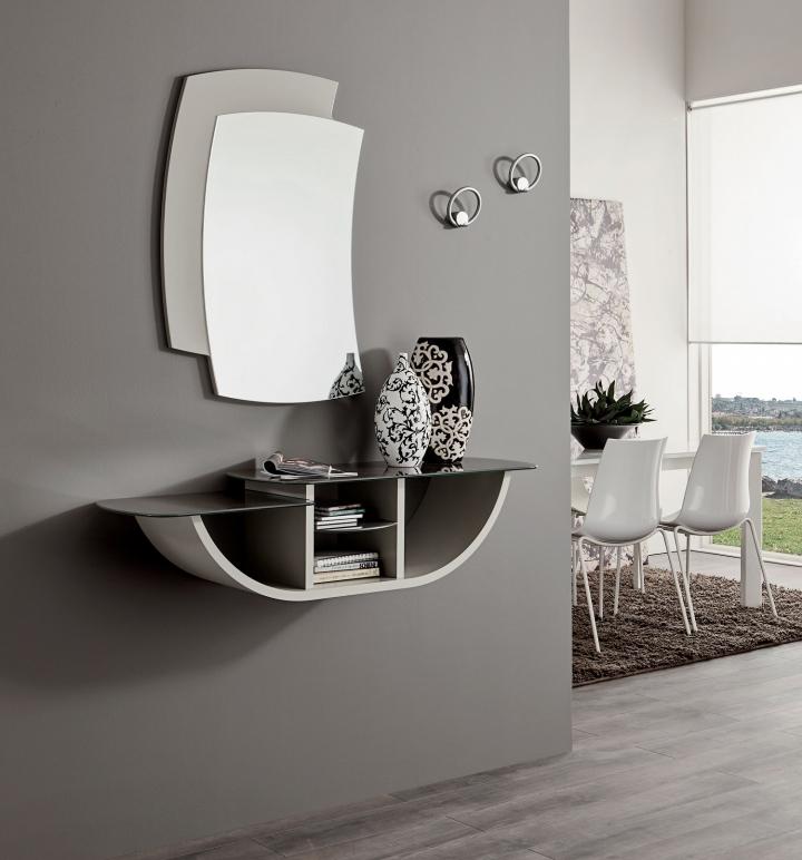 mobile ingresso pr-gondola consolle specchio entrata moderna vani ... - Mobili Ingresso Bianco Lucido