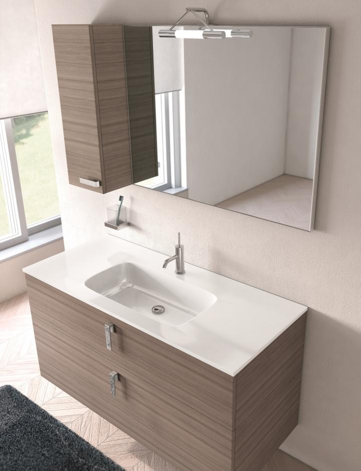 Mobile bagno moderno PT-FLASH 06 con pensile e base h60 L96/106/121 cm