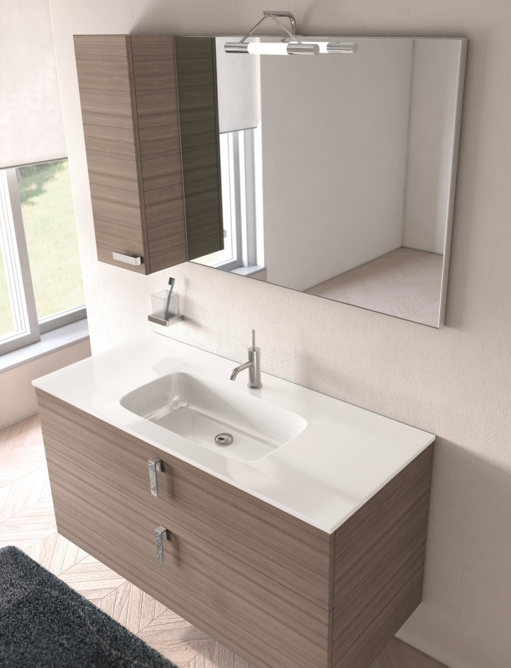 Mobile bagno moderno pt flash 06 con pensile e base h60 - Bagno largo 110 cm ...