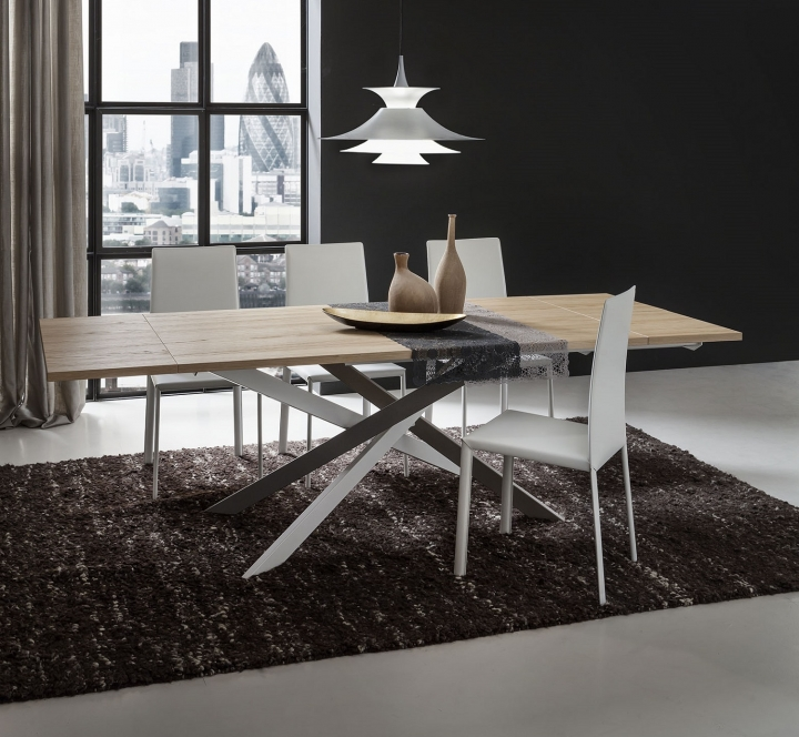 Tavolo soggiorno pr renzo allungabile 170 250 cm rovere for Tavolo salone moderno